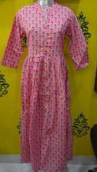 Cotton Pink Printed Kurti