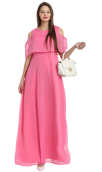 Baby Pink Cold Shoulder Gown