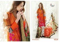 Printed Orange Catalogue Dress Material