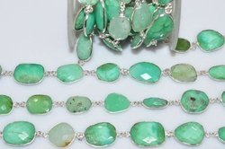 Sterling Silver Chrysoprase Gemstone Bezel Connector Chain