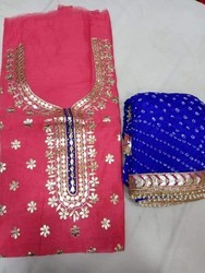 Chanderi Wedding Ladies Ethenic Gota Work Suits, Dry clean