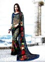 Printed Georgette Sarees, 6.3 M (with Blouse Piece)