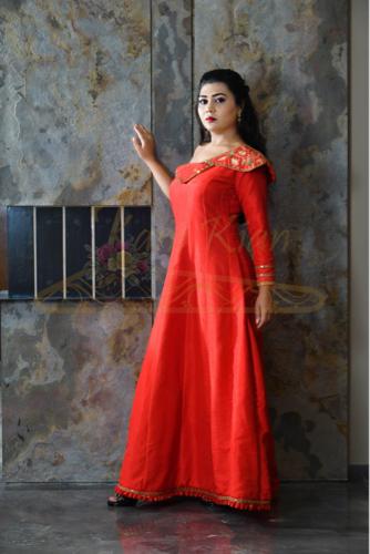kanikian red Designer Embroidery Dress, Adult