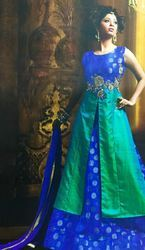 Blue And Green Colour Long Ladies Top And Weaving Skirt
