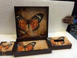 Butterfly Tray Set Of Two, Tissue Box And Coasters