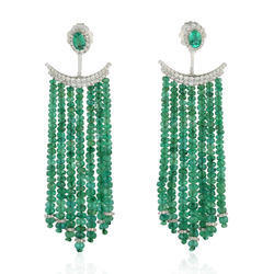 natural emerald diamond ear jacket gold jewelry