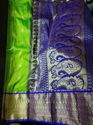 Red.pink.parret Green.black .green.mejenta Synthetic Silk Sarees, Construction Type: Machine