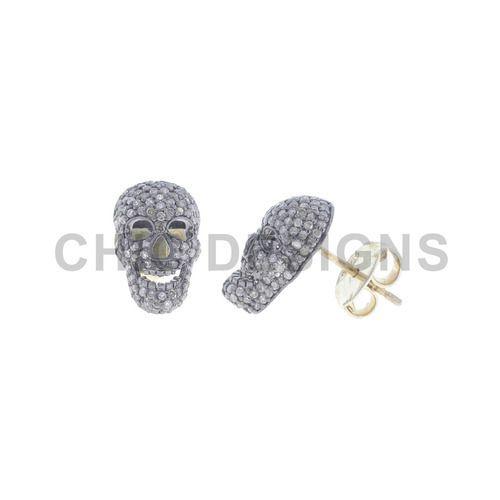 Chic Designs Diamond Skull Studs Earrings Size 15x9 Mm