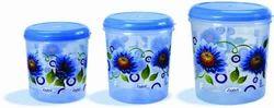 Blue Plastic Printed Round Container