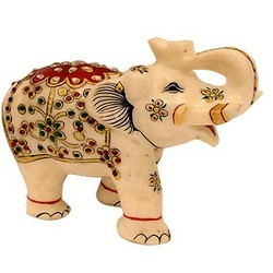 Red Marble Elephant Trunk Up MB005