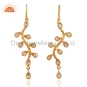 925 Silver Gold Plated Citrine Cut Round Earring