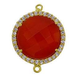 Carnelian Pave Cz Set Round Connector
