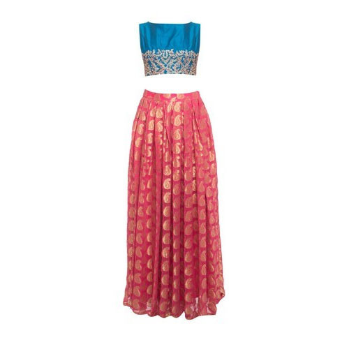 Party Wear Long Skirt And Crop Top