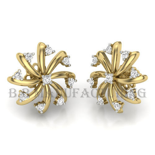 14k Yellow Flower Shape Diamond Tops Earring Jewelry