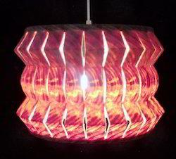 Zigzag Round N Slitz Wooden Hanging Lamp