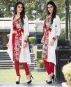 White Red,Indo Western Readymade Kurti