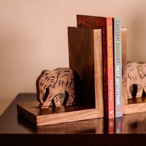 Exclusivelane Wooden Hand Carved & Engraved Elephant Book End In Sheesham  Wood