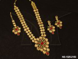 Long Bollywood Style Kundan Necklace Set