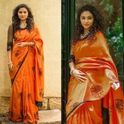 03abc0171bd607 Silk Double Shade Elephant Embroidery Work Saree