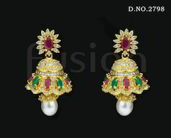 Traditional Cubic Zircon Jhumka Earring