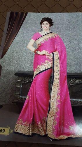 ab93339147 Satin Hand Work Saree at Rs 1500 /piece(s)   Fancy Sadiya - Swastik ...
