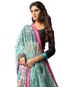 Blue and Multicolor Printed Saree
