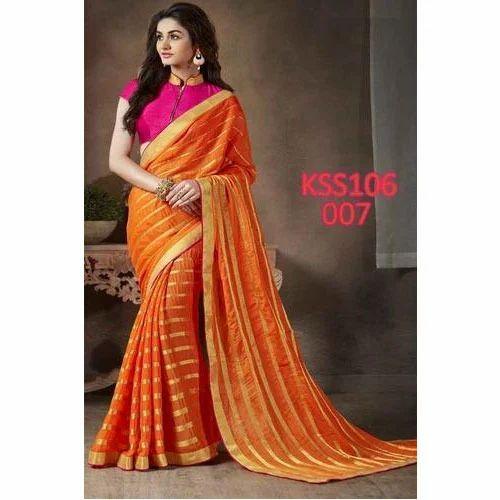 9776a50ab2 Beautiful Orange And Pink Saree at Rs 1049 /piece | Designer Sarees ...