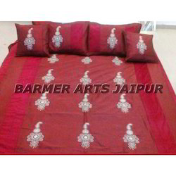 Silk Embroidery Anarkali Bed Cover