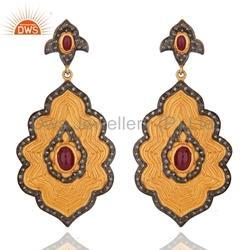 Designer Gold Plated Ruby Diamond Earring Jewelry