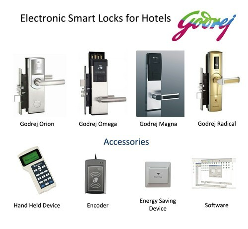 Electronic Door Lock Godrej Hotel Card Lock Satin 10