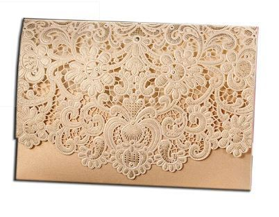 Lace Design Laser Cut Wedding Invitation Card