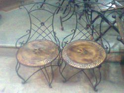 Wrought Iron Wooden Chairs
