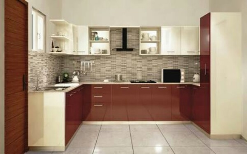 Modular Kitchen 01 Red And Cream Wooden Brown White Whole Distributor From Indore