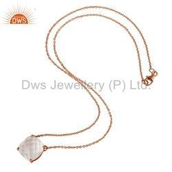 Rose Gold Plated Chain Crystal Quartz Pendant