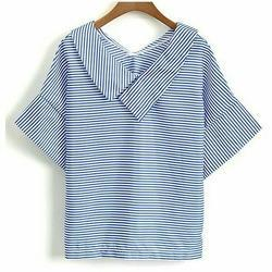 Blue and White Women Tops