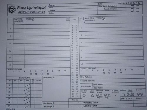 Score Sheet - Volleyball Score Sheet Manufacturer From New Delhi