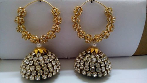 ede4ace0d Dazzling Jhumkas With Antique Stone Finish at Rs 300 /pair ...