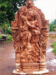 Radha Krishna Wooden Statue 8 Feet
