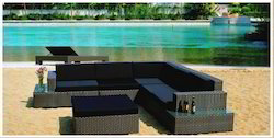 Outdoor Wicker L Shaped Sofa Set