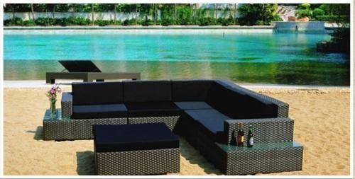 Outdoor Wicker L Shaped Sofa Set