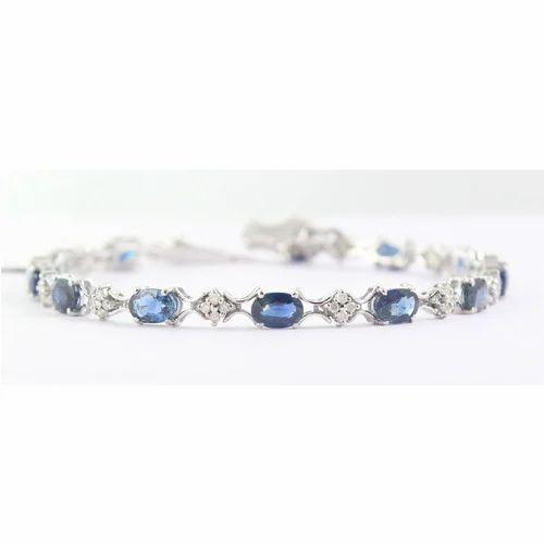bd6f04b4bb5 Sapphire and Diamond 18K White Gold Bracelet at Rs 45000 /piece(s ...