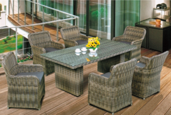 Pattern Style Outdoor Wicker Dining Table Set