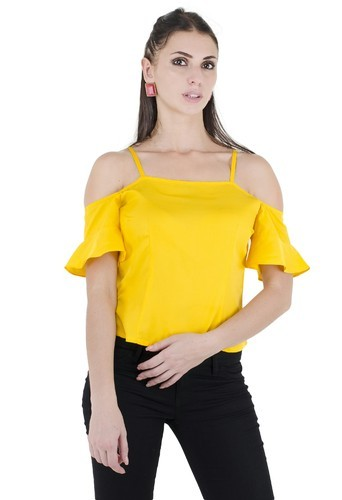 Yellow Medium Off Sholder  Crope Top
