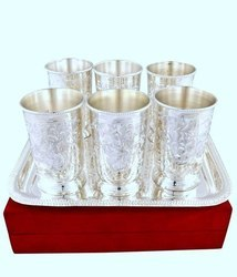 Silver 6 Pieces Glass Set, For Diwali Gift, Capacity: 150 Ml