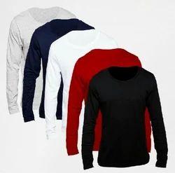 Men's Cotton Full Sleeve Black Plain T-Shirt, Size: S-XXL
