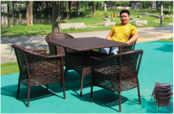 Flower Style Wicker Outdoor Coffee Set
