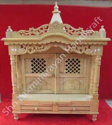 Sagwan Natural Polish Savan Wood Regular Mandir for Worship