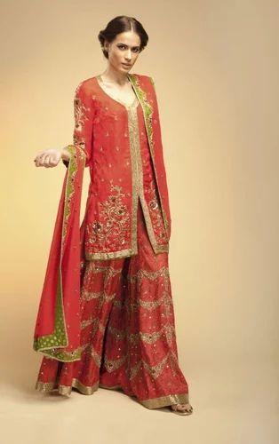 e1040bebf2 Embroidered Scarlet Red Bridal Sharara at Rs 84706  piece