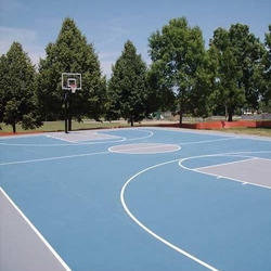 Grey And Blue Outdoor Synthetic Basketball Court Flooring