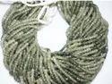 Green Rutilated Quartz Rondelle Beads Strand